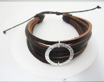 Brown Leather Bracelet Golden Cricle Center Cuff