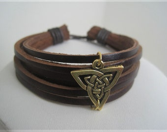 Leather Bracelet Men Cuff Bracelet with Golden Celtic Triquetra 10% OFF - Limited time