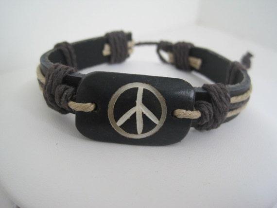 Peace Sign Center Leather Cuff SALE