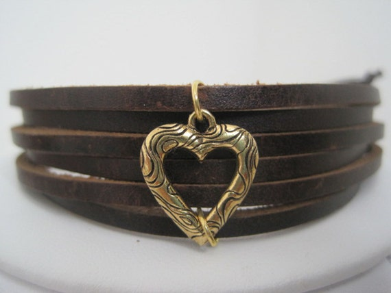 Brown Multistrap Leather Wrap Bracelet Cuff with Golden Heart