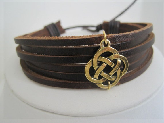 Leather Multi-strap cuff with Gold Celtic Circle Wrap Bracelet
