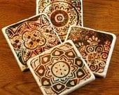 Burgundy/Brown Henna Designs - stone coaster set