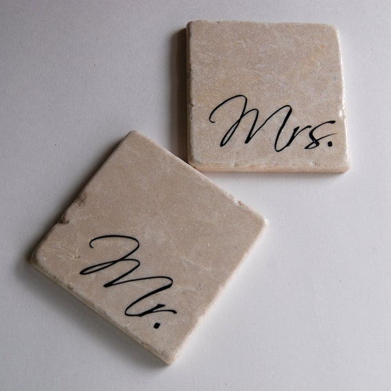 Mr & Mrs coasters - set of two