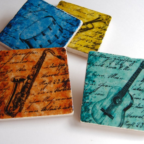 The Musician - stone coaster set of 4