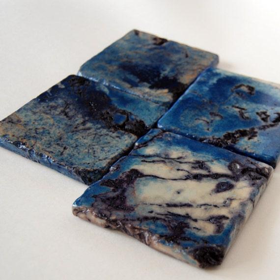 Deep Ocean Blue Coasters - set of 4