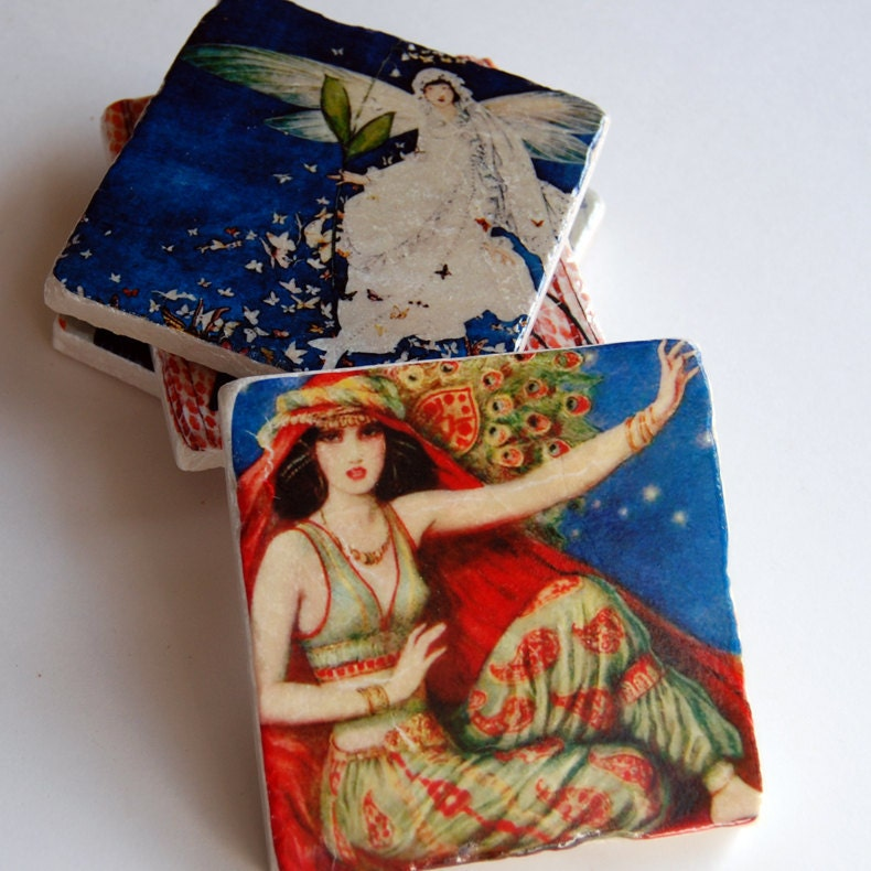 Drink Coaster Set Vintage Magazine Covers By Thepaintedlily
