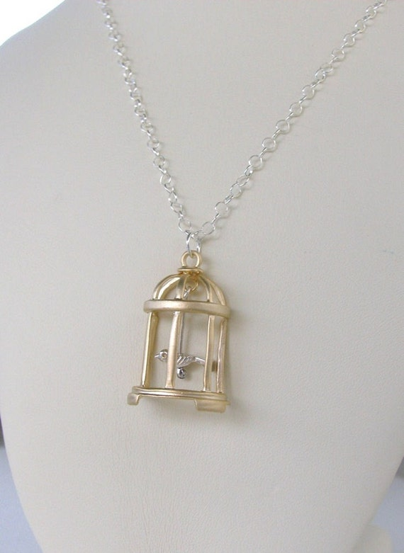 Lucy. Vintage Silver and Matte Gold Birdcage