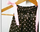 Girls Pillowcase Dress in Brown with Pink Polka Dots with Bows that Tie at the Shoulders 6mo - 5T