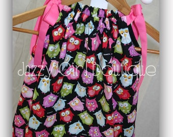 Girls Pillowcase Dress in an Owl Print with Bright Pink Grosgrain Ribbon Tiies