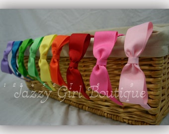 Girls Tuxedo Bow Ribbon Wrapped Headband - You Choose Any Color