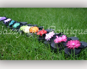 Boutique Flower Flip Flop Clips, One Pair of Girls Baby Toddler or Adult Once Size Fits All, You Choose Color, Clips to ANY Flip Flop