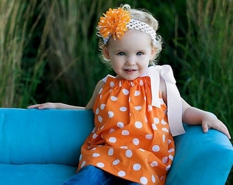 Girls Boutique Pillowcase Dress in The Tangerine Polka Dot 6mo - 5T 6, 7 or 8 Three Dollars More