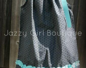 Pillowcase Dress Grey with Black Polka Dots and a Ruffled Aqua Blue Ribbon Accent and  Ties