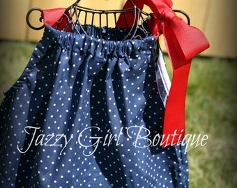 Girls Fourth of July Nautical Boutique Pillowcase Dress Blue with White Polka Dots and  Large Red Ribbon Bow over one Shoulder