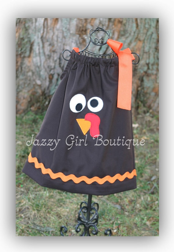 Girls Thanksgiving Pillowcase Dress with Adorable Turkey Face and Large Orange Bow at One Shoulder