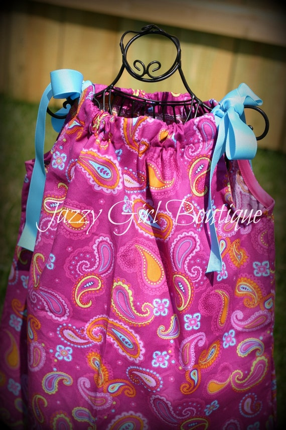 Girls Pillowcase Dress in the Frou Frou Paisleys Fabric Sz 6mo - 5 Sz 6 7 8 Available for an Additional Charge