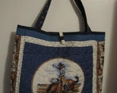 Western Cowboys Quilted Tote Bag