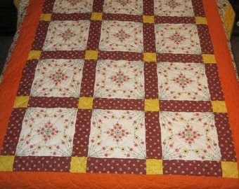 On Sale Now  Orange Blossom Special Embroidered Quilt
