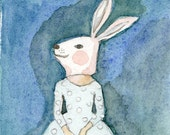 Girl in Bunny Mask Deluxe Edition Print of original watercolor