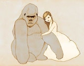 Gorilla and Girl  Deluxe Edition Print of original drawing