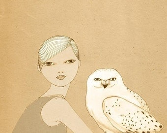 Girl and White Owl print of original drawing