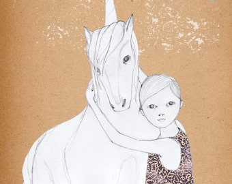 Girl and UnicornDeluxe Edition Print of original drawing