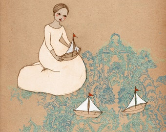 Sail Away Deluxe Edition Print of original drawing