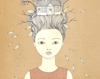 Growing a House print of original drawing