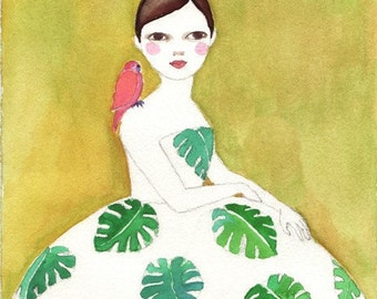 Monstera Girl Deluxe Edition Print  of original watercolor