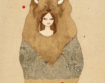 Large Print of Buffalo Girl