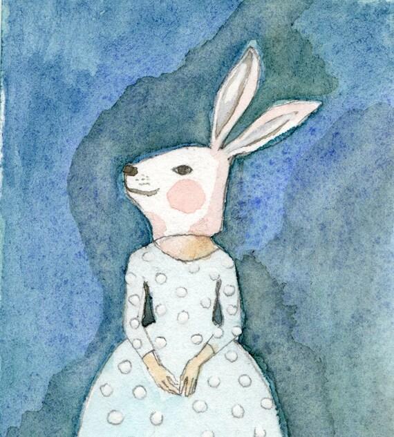 Girl in Bunny Mask Deluxe Edition Print of original watercolor