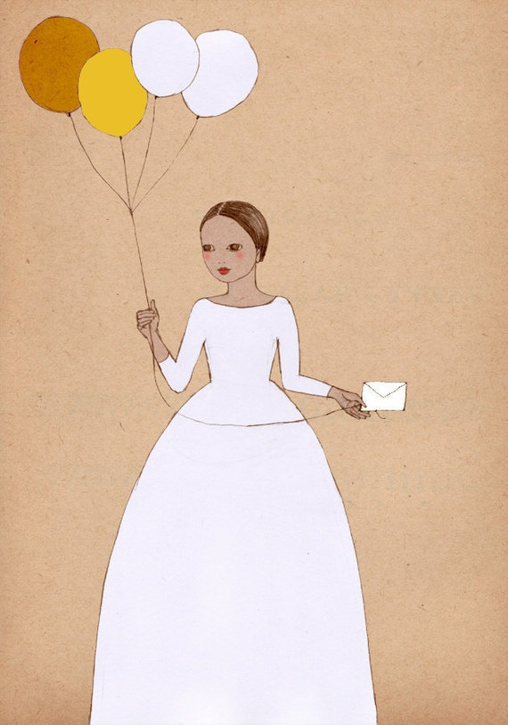 Girl with Balloons art Deluxe Edition Print  of original illustration drawing