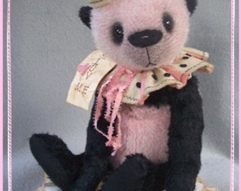 "Artist Bear Immediate Download PDF Pattern to Make Your Own Darling 12"" Primitive Style Panda By Kim Endlich"