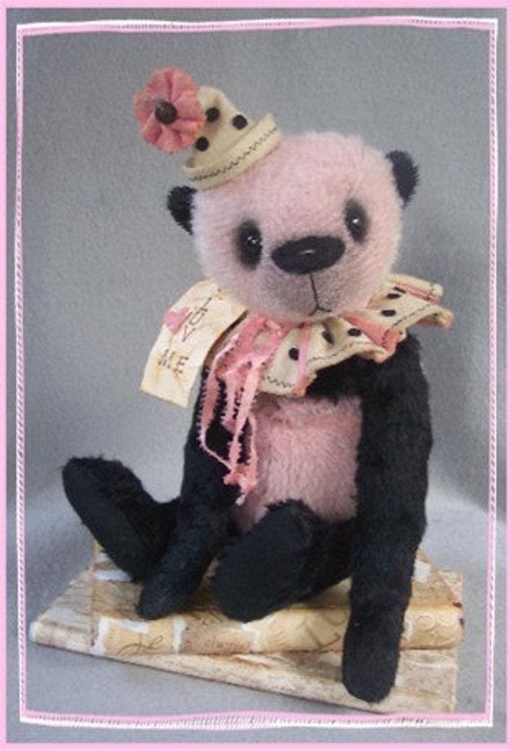 "Artist Bear Immediate Download PDF Pattern to Make Your Own Darling 12"" Primitive Style Panda By Kim Endlich"