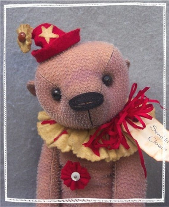 "PDF Pattern to Make 12"" Well Loved Teddy Bear CLANCY By Kim Endlich"