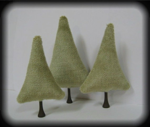 Tiny Trees Holiday Decoration 3 MOHAIR Moss Green Toy Miniature Trees By Kim Endlich