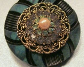 Vintage Button Brooch/Pin of Bakelite - Re-Purposed Old Button Jewelry -  With Swarovski Crystal Accent  Pearl - ooak