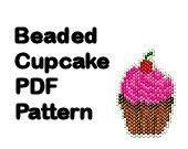 Beaded Cupcake Pattern PDF Digital File Brick Peyote Stitch Charm Ornament