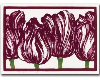 Striped Tulips Handmade Block Print Note Card