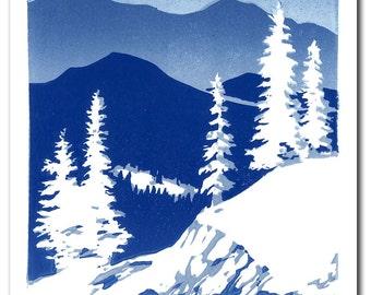 Winter Mountains Handmade Block Print Holiday Card