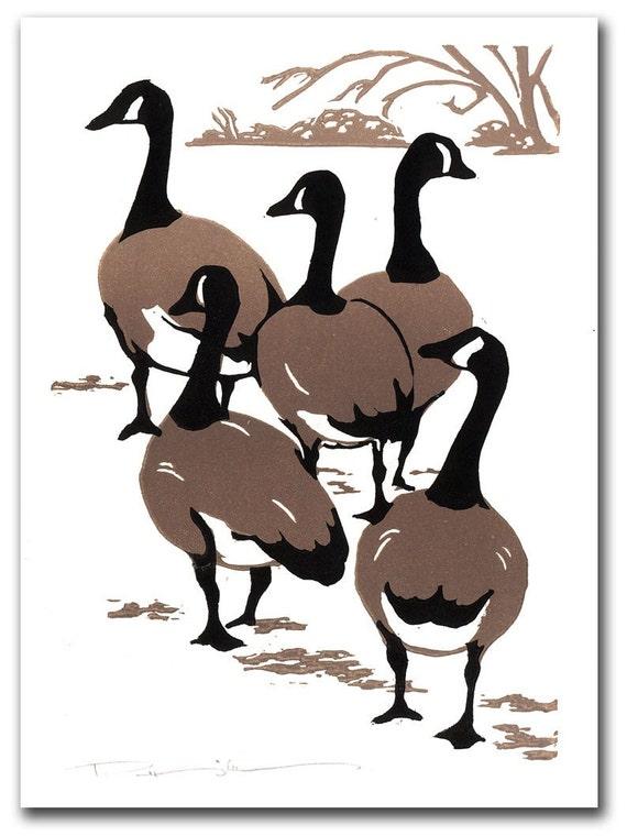 Canada Geese Block Print Holiday Card