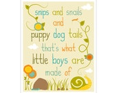 Children's Wall Art / Nursery Decor Snips and Snails and Puppy Dog Tails 11x14 inch print by Finny and Zook