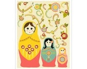 Children's Wall Art / Nursery Decor Russian Matryoshka Nesting Dolls 8x10 inch print by Finny and Zook