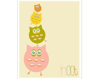 Children's Wall Art / Nursery Decor hoot 8x10 inch print by Finny and Zook