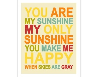 Children's Wall Art / Nursery Decor You Are My Sunshine... 11x14 inch print by Finny and Zook