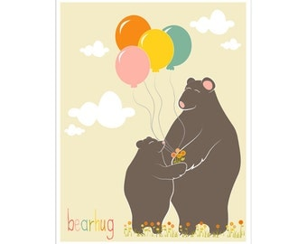 Children's Wall Art / Nursery Decor  Bear Hug Poster Print by Finny and Zook