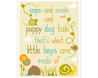 Children's Wall Art / Nursery Decor Snips and Snails and Puppy Dog Tails  print by Finny and Zook