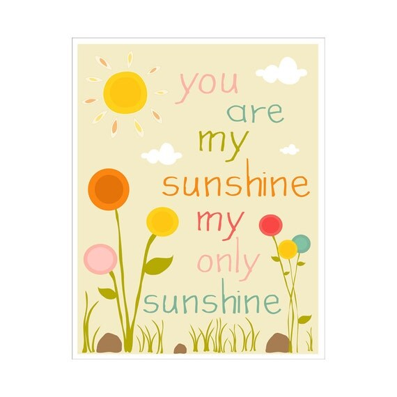 Children's Wall Art / Nursery Decor You Are My Sunshine... 5x7 inch print by Finny and Zook