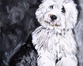 sheepdog puppy original painting white and black dog portrait on canvas