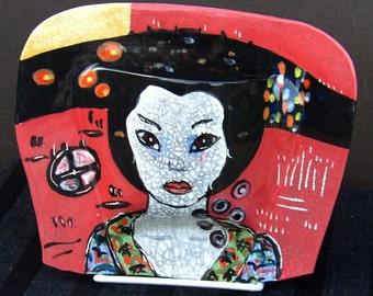 Wall Pocket Vase Ceramic Art Geisha Red Black Expressionist art wall hanging wall vase ceramic wallpocket